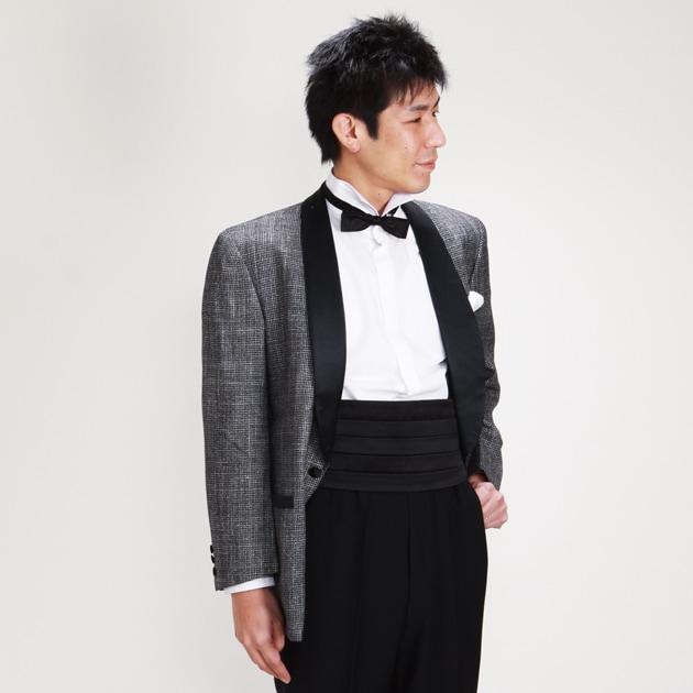 タキシード レンタル グレー 黒拝絹 ショールカラー半身画像
