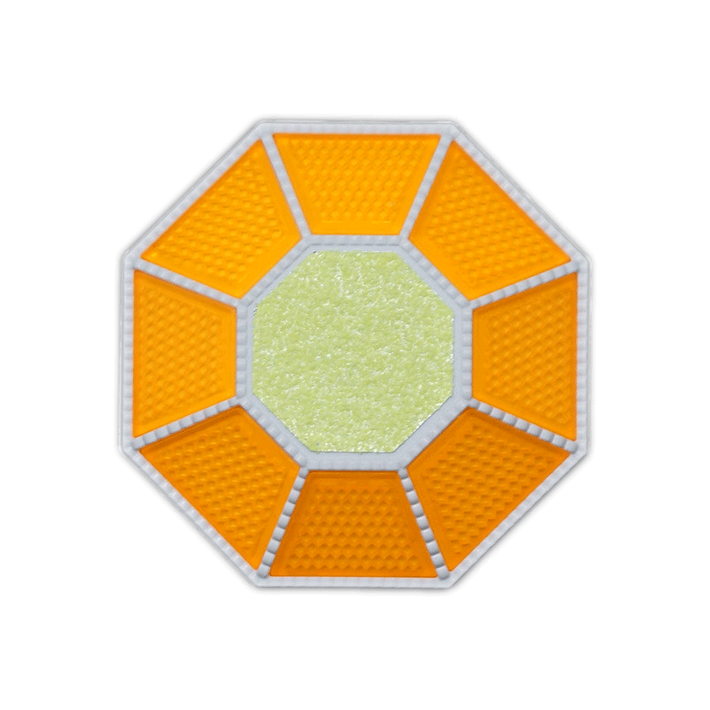 全周反射型道路縁石鋲 ライトニングHCB-888 本体白/反射板蛍光黄