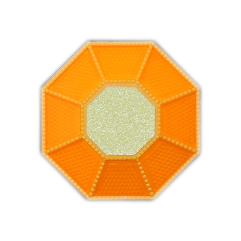 全周反射型道路縁石鋲 ライトニングHCB-888 本体黄/反射板蛍光黄