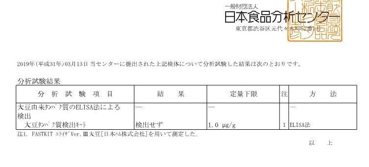 検査結果/日本食品分析センター