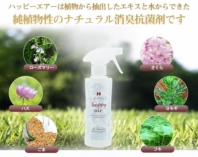 ハッピーエアーは植物から抽出したエキスと水からできた植物性のナチュラル消臭剤です