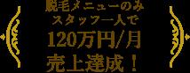 脱毛メニューのみスタッフ一人で120万円/月 達成