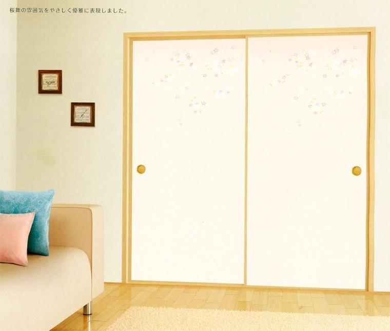 一枚柄 No.408のデザイン襖紙を施工した部屋