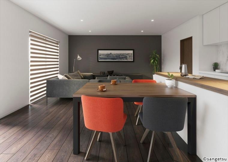 サンゲツSPクロス天壁まるごと石目調を貼ったグレイッシュなカラーがモダンな塗り調の部屋