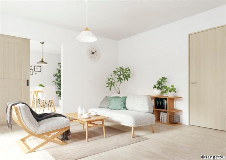 サンゲツSPクロス天壁まるごと石目調を貼ったホワイトカラーの床材との組み合わせがおすすめの部屋