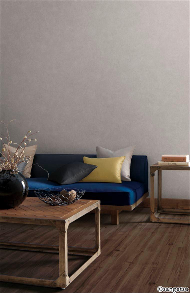 サンゲツSPクロス パターン 木目調 カラーを貼ったコンクリートの質感を表現した、クールで都会的なデザインの部屋
