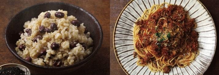 粉なっとうを使用した炊き込みご飯とスパゲティミートソース