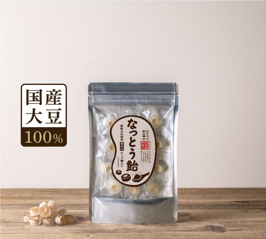 なっとう飴パッケージ・国産大豆100%