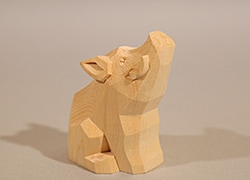 こころの木彫り「招福 いのしし」