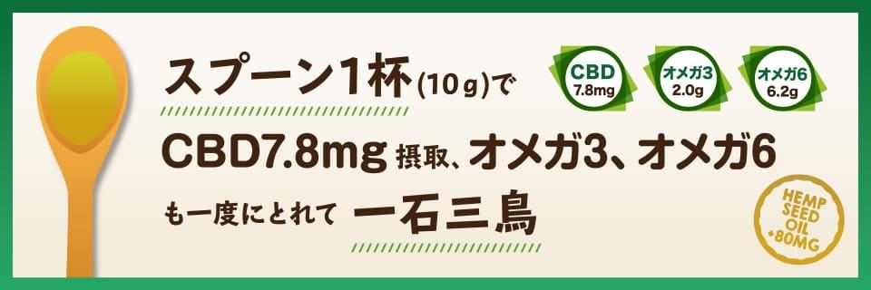 スプーン1杯(10g)でCBD7.8mg摂取、オメガ3、オメガ6も一度にとれて一石三鳥