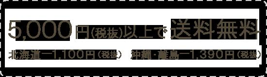 5,000円(税抜)以上で送料無料 北海道 1,100円(税抜) 沖縄・離島 1,390円(税抜)