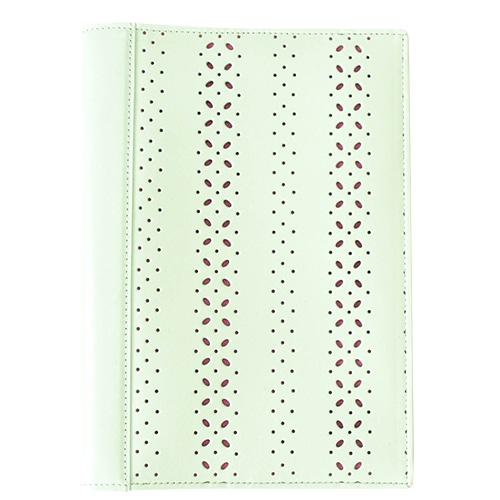 パンチングホワイトA5本革手帳カバー