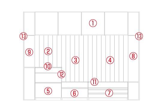 スタンザホワイトオーク壁面収納セット図面