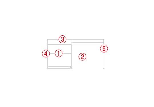 スタンザホワイトオークリビング収納セット図面