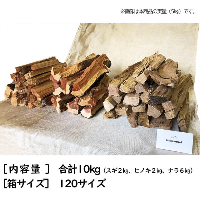 合計10kgの3種類の薪セット