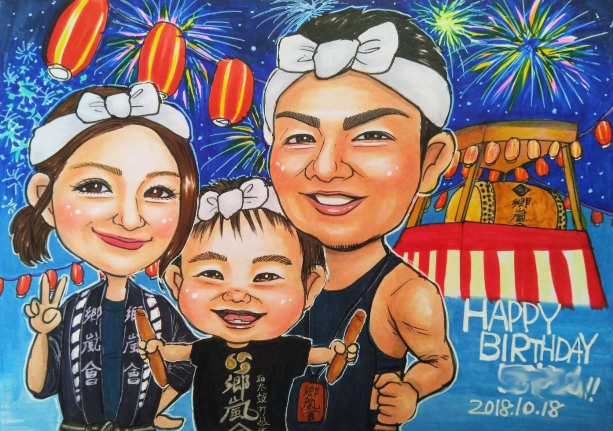 夏祭り家族の似顔絵