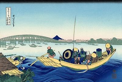 御厩川岸より両国橋夕陽見(おんまやがしよりりょうごくばしゆうひみ)