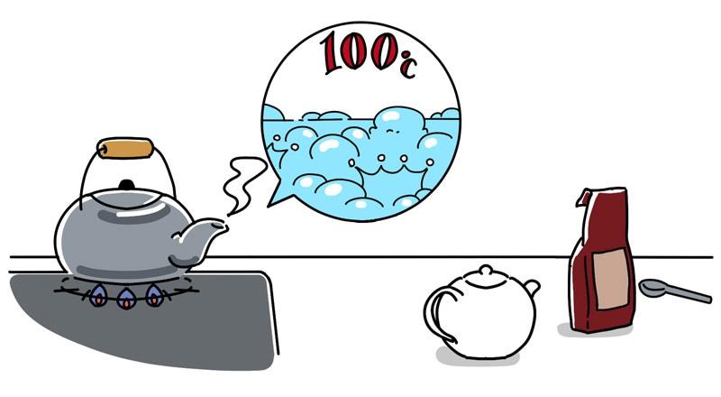写真:沸騰させ500円玉の泡のイメージ