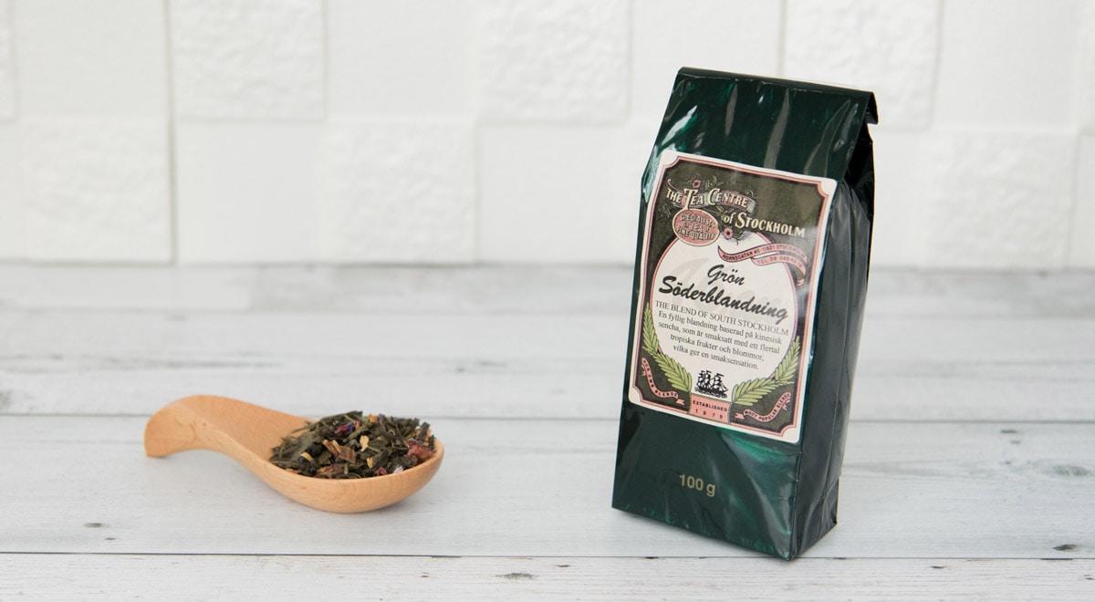写真:机の上に広がったロイヤルセーデルブレンドの茶葉と商品
