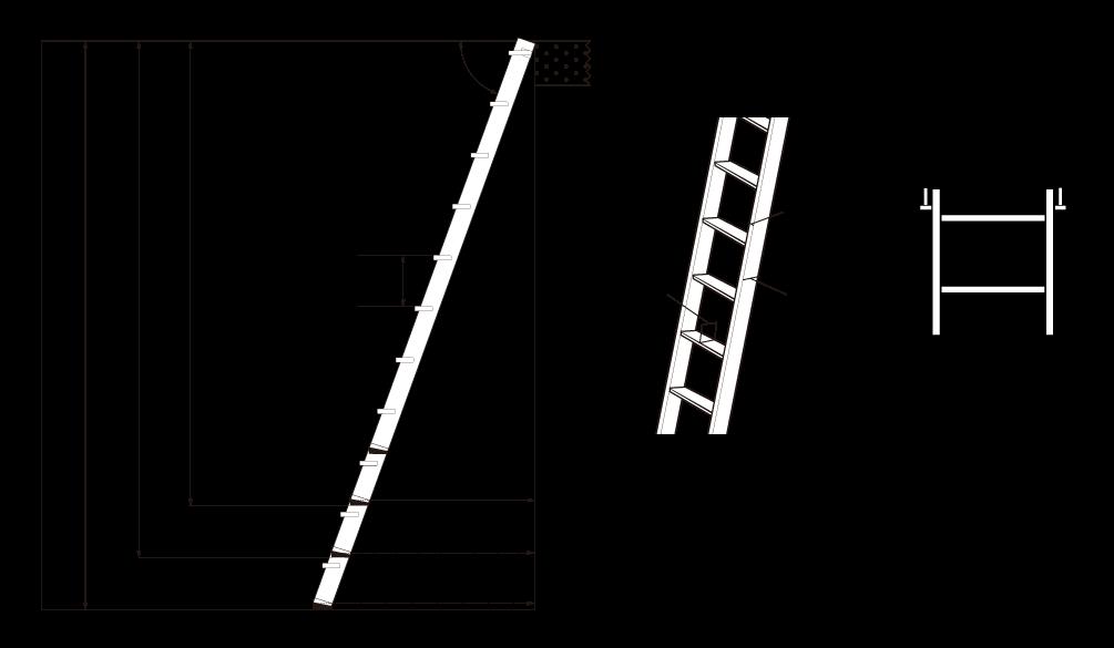 金属製ロフトはしごシンプルラダーの簡易寸法図