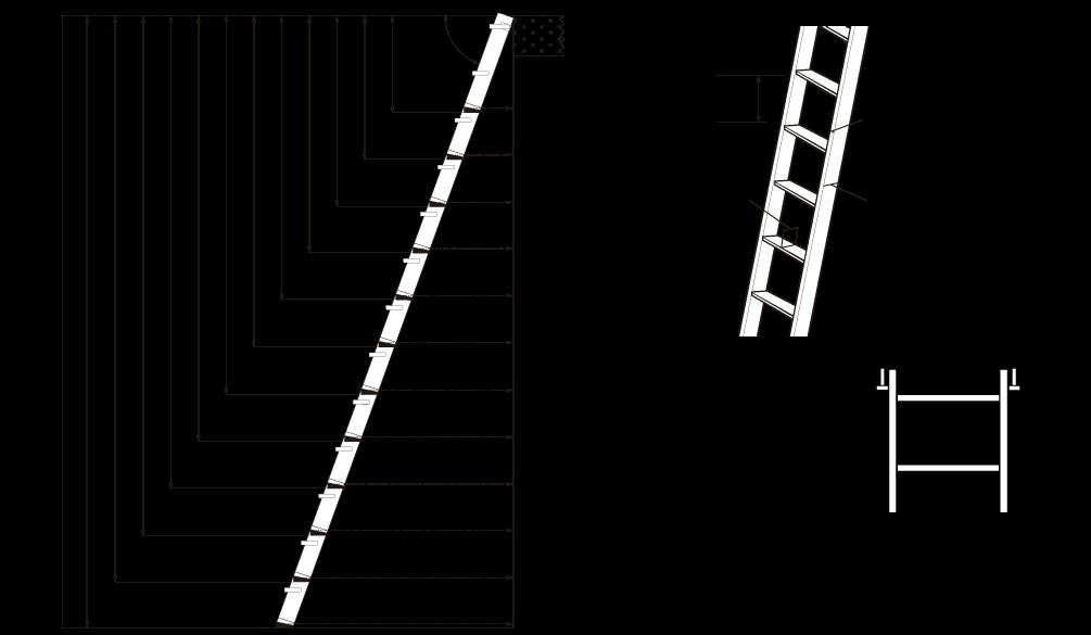 木製ロフトはしごカスタムラダーの簡易寸法図