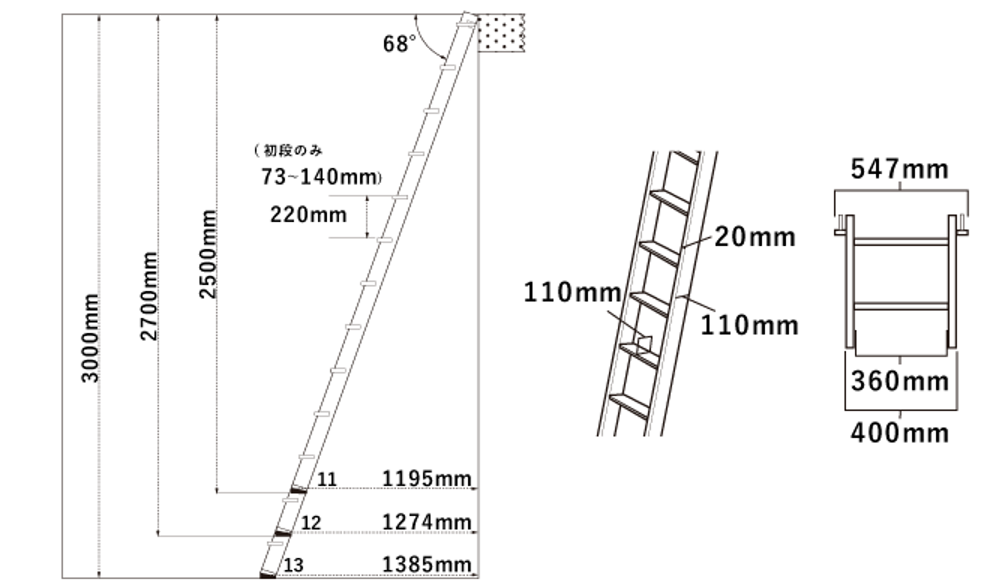 木製ロフトはしごセーフティーラダーの簡易寸法図