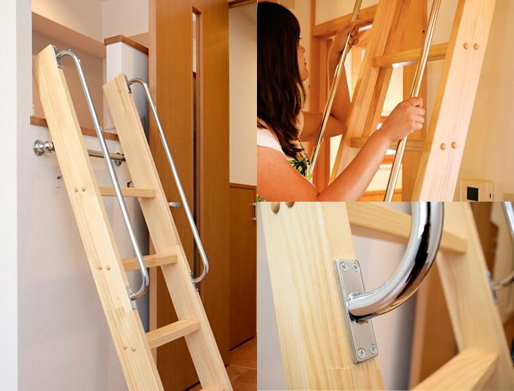 木製ロフトはしごカスタムラダーの手すり