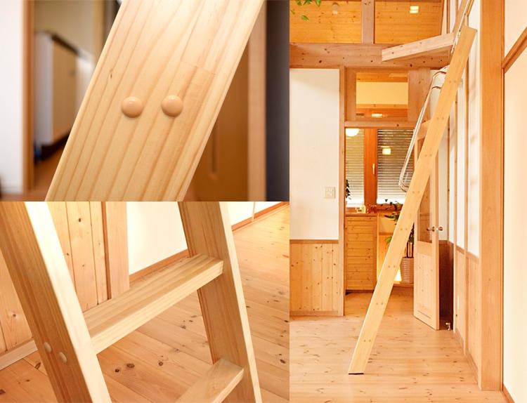 木製ロフトはしごカスタムラダー・クリア塗装の仕様