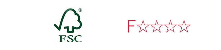 木製ロフトはしごカスタムラダーの認証「FSC」「F☆☆☆☆」