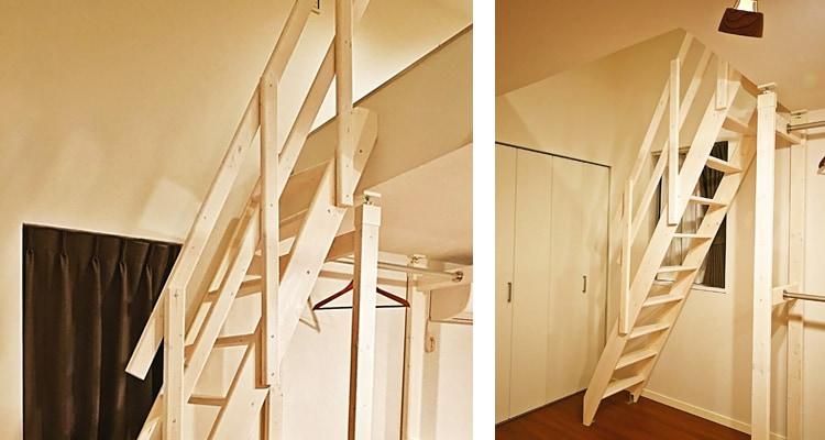 北欧産デザインステップ木製ロフト階段は手すりのアレンジ