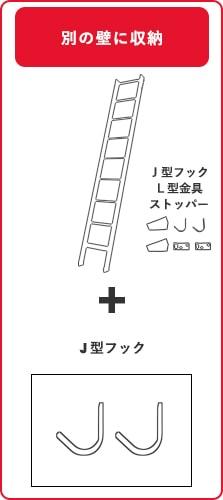 北欧ラダー木製ロフトはしごとJ型金具購入の場合