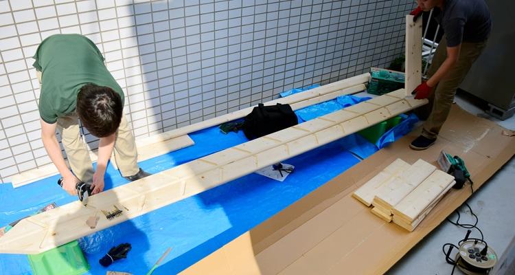 北欧産ワイドステップ木製ロフト階段は組立式