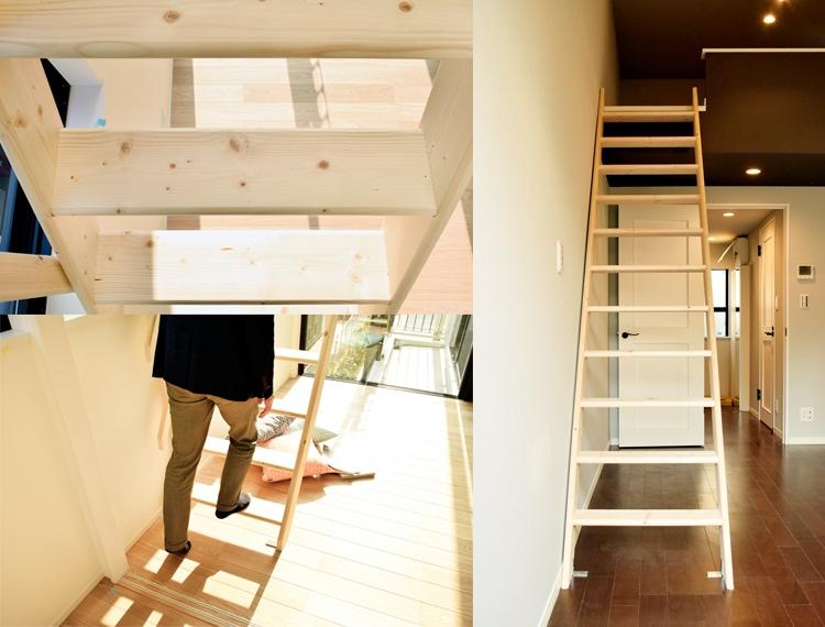 北欧産ワイドステップ木製ロフト階段は幅の広い踏板
