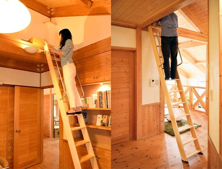 木製ロフトはしごセーフティーラダーの上段に登る様子