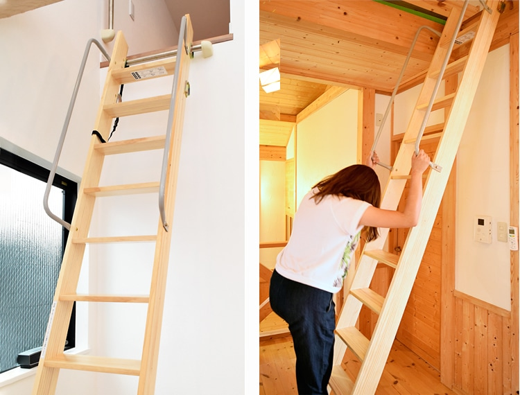 木製ロフトはしごセーフティーラダーの手すり