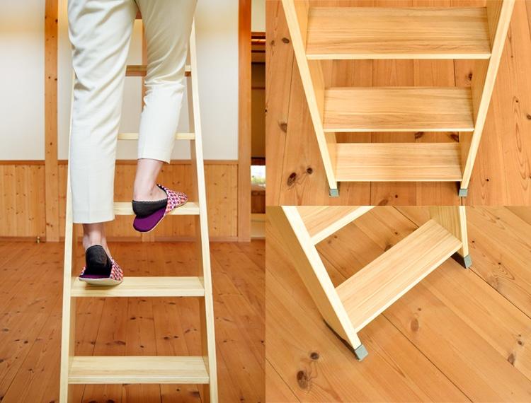 木製ロフトはしごセーフティーラダーの踏板は低い位置からスタート