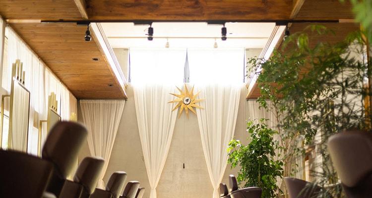 サーモウッドパインリブ羽目板の正面風景