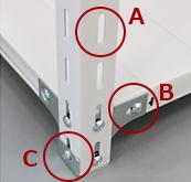 A…50mmピッチで調整可   能B…コーナープレート付C…ベース付