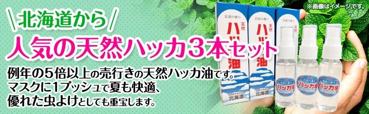 北海道から【人気の天然ハッカ】3本セット ★送料込★