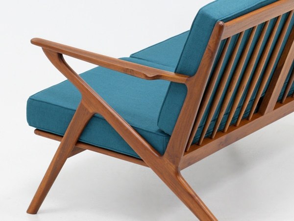 北欧,デザイン,家具,クロッケン,チーク材,2人掛け,ソファ,ブルーグリーン