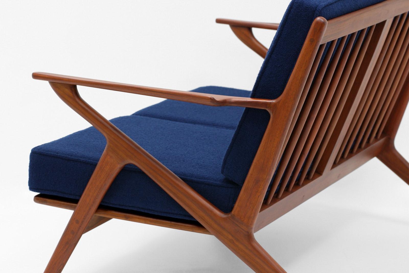 北欧,デザイン,家具,クロッケン,チーク材,ソファ,2人掛け,ネイビー