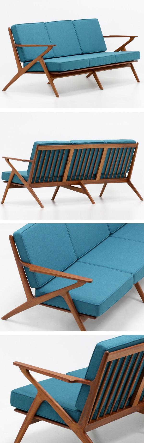 北欧デザイン家具,Klokken,クロッケン,チーク材,3人掛けソファ,ブルーグリーン