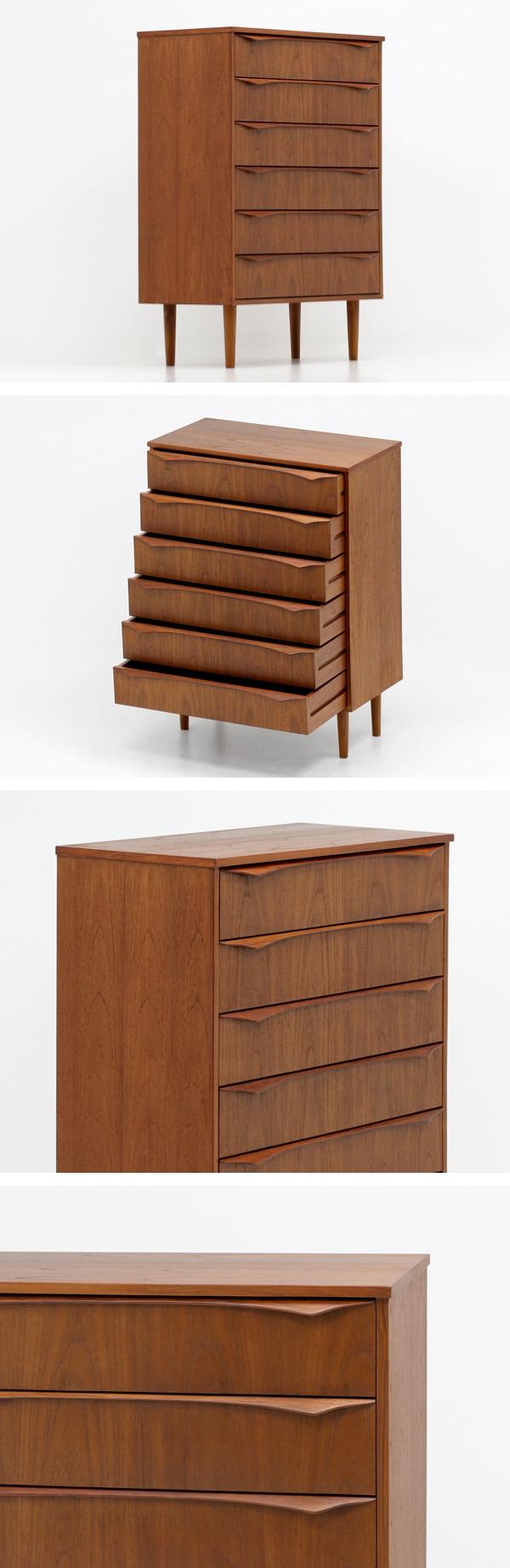 北欧デザイン家具,Klokken,クロッケン,チーク材,6段チェスト,収納