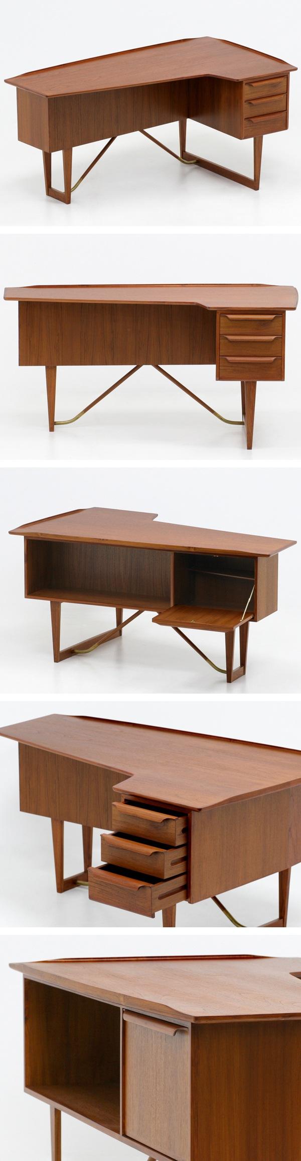 北欧デザイン家具,Klokken,クロッケン,チーク材,片袖デスク