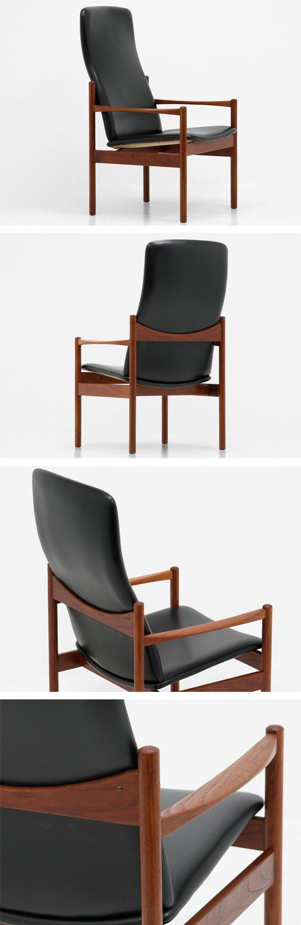 北欧家具,ビンテージ,ハイバックチェア,チーク材,黒,デンマーク