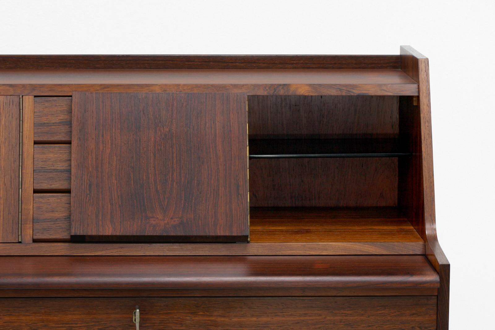 北欧,ヴィンテージ家具,ライティングビューロー,ローズウッド材,ミラー付き