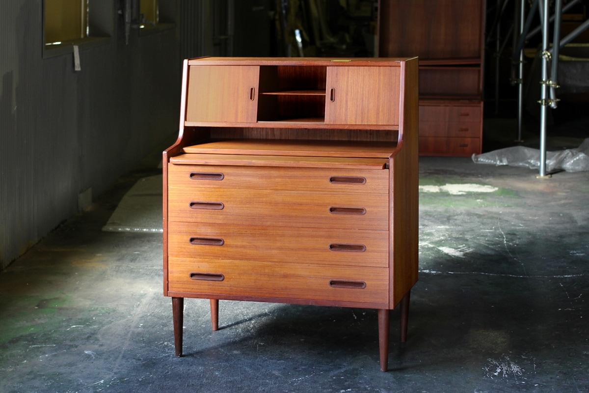 ヴィンテージ,北欧,家具,ライティングビューロー,大きめミラー付き