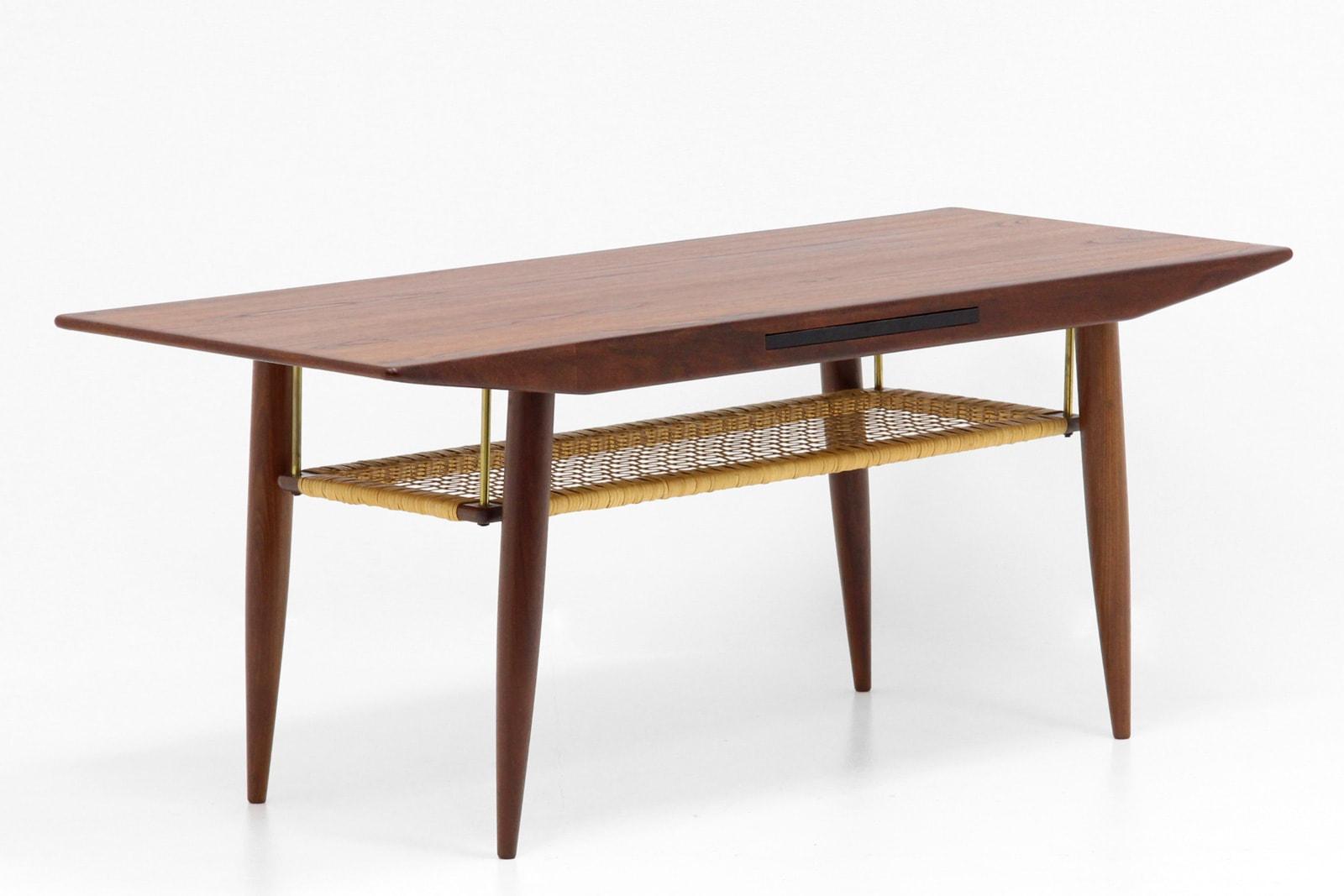 ヴィンテージ,北欧,家具,コーヒーテーブル,籐,棚付き