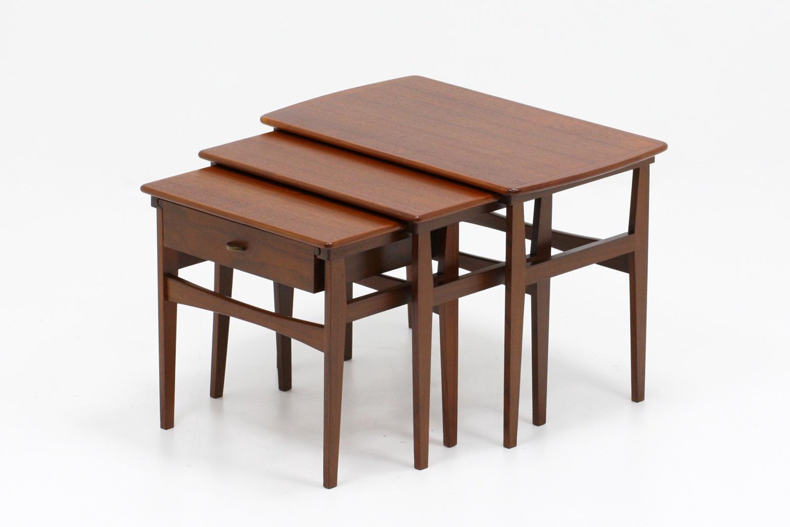 ヴィンテージ,北欧,家具,ネストテーブル,引き出し付き