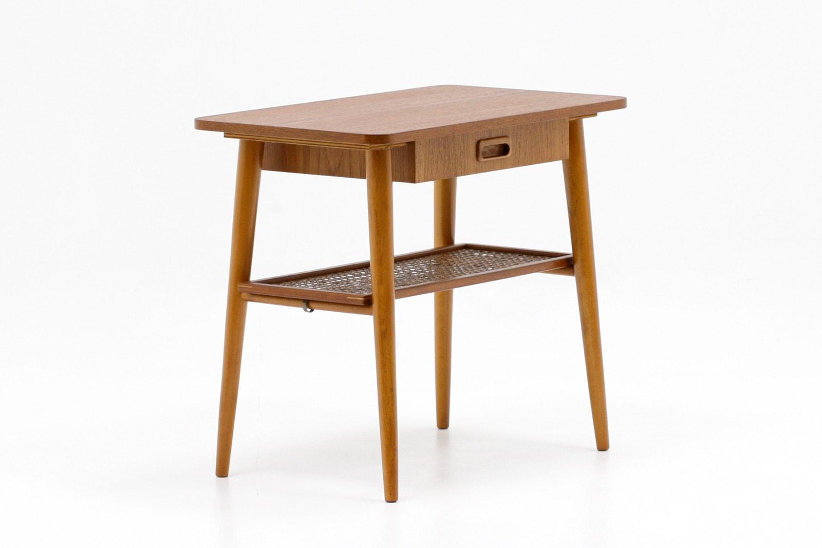 北欧,ヴィンテージ家具,サイドテーブル,籐の棚,スウェーデン